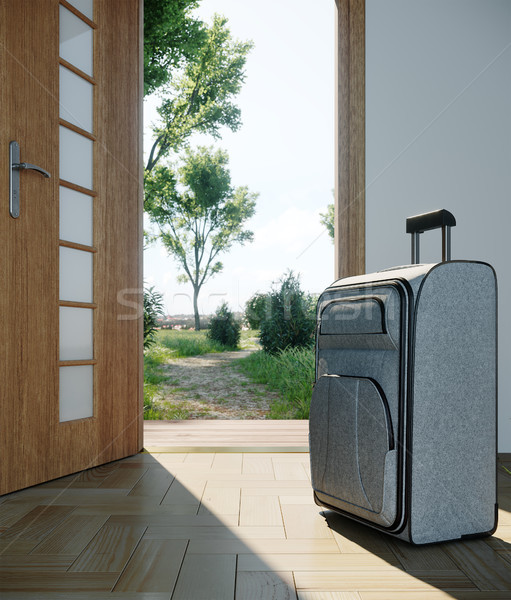 Utazás tok nyitott ajtó vakáció üzlet földgömb Stock fotó © denisgo