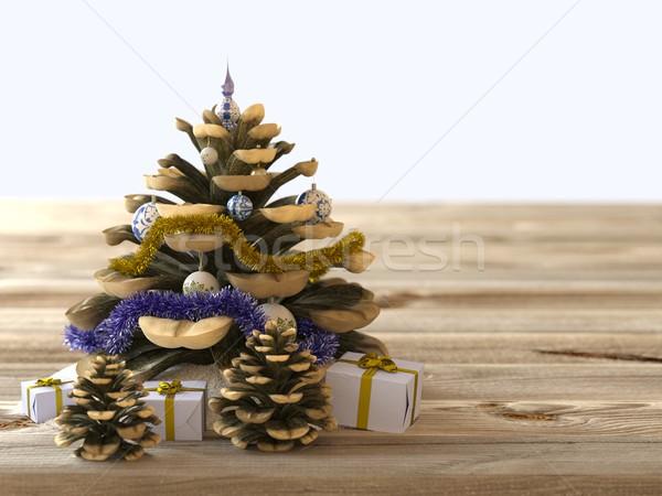 Navidad cono regalos textura de madera vacaciones árbol Foto stock © denisgo