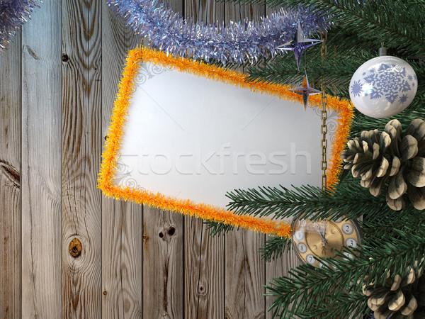 Foto stock: árbol · de · navidad · tarjeta · vacaciones · feliz · diseno