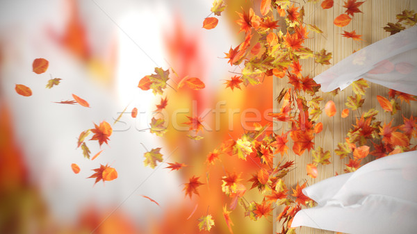 Stock photo: falling and winding Autumn Leaves with curtains background