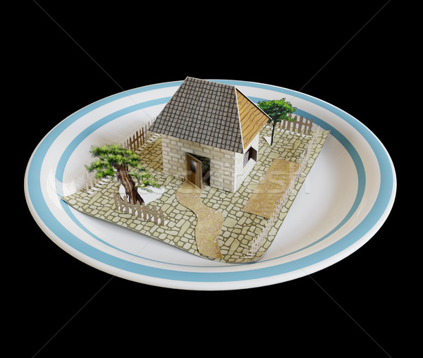 isolate house on the plate with blue border real estate business concept photo Stock photo © denisgo
