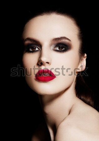 Beauty smokey eyes red lips makeup fashion model Stock photo © DenisMArt