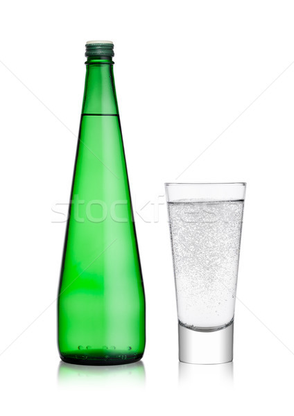 Stock photo: Bottle and glass with healthy sparkling  water