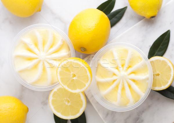 Műanyag bögre citrom sajttorta desszert nyers Stock fotó © DenisMArt