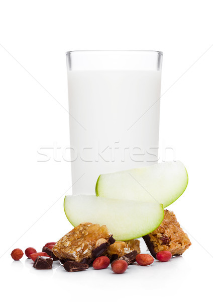 Stockfoto: Granen · bar · appel · chocolade · glas · melk