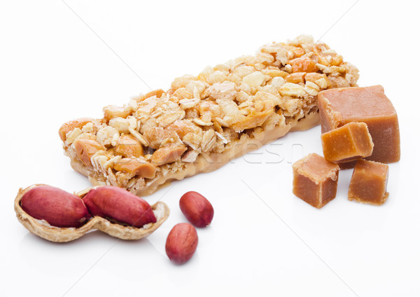 Caramelo proteína cereal energia bar amendoins Foto stock © DenisMArt