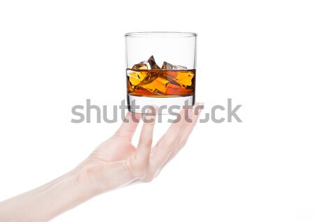 Hand holds tray with cola orange water soda drink Stock photo © DenisMArt