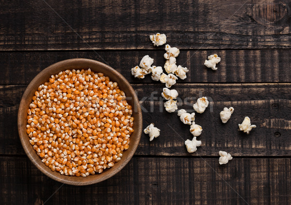 Ahşap çanak mısır patlamış mısır doku Stok fotoğraf © DenisMArt