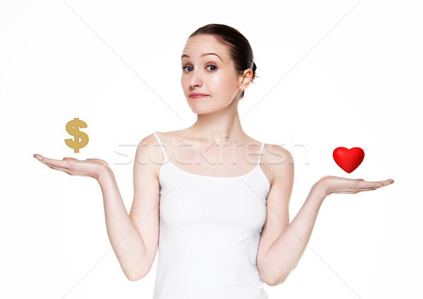 Beautiful women choose between love and money Stock photo © DenisMArt