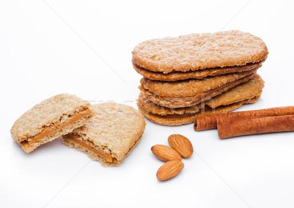 Stock fotó: Egészséges · bio · reggeli · gabona · kekszek · mandulák