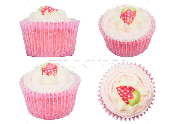 Fresh strawberry cupcake muffins isolated Stock photo © DenisMArt