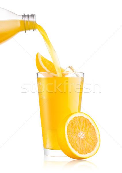 Naranja sosa beber botella vidrio Foto stock © DenisMArt