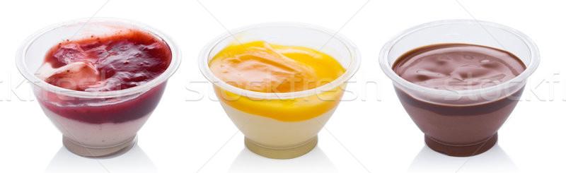 Mango strawberry and chocolate yogurt dessert Stock photo © DenisMArt