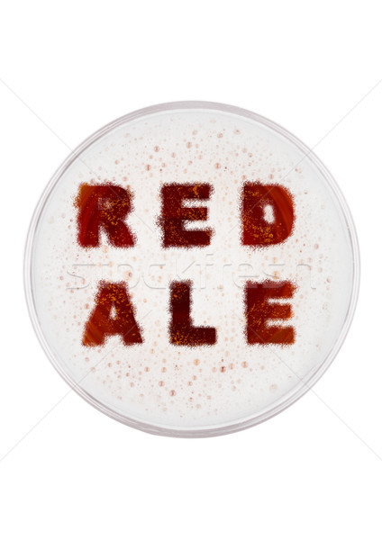 Glass of red ale beer top with letters shape Stock photo © DenisMArt