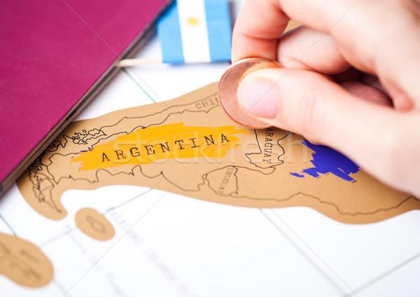 Stock fotó: Utazás · ünnep · Argentína · útlevél · zászló · női