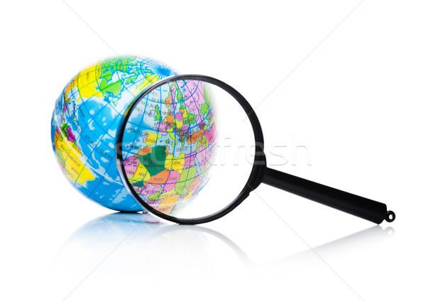 Földgömb nagyító Európa Afrika fehér internet Stock fotó © DenisMArt