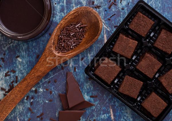Csokoládé keksz desszert kék tábla bögre Stock fotó © DenisMArt