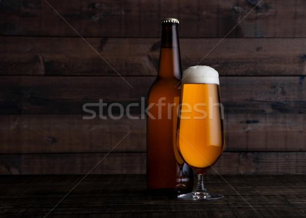 üveg üveg arany világos sör sör hab Stock fotó © DenisMArt
