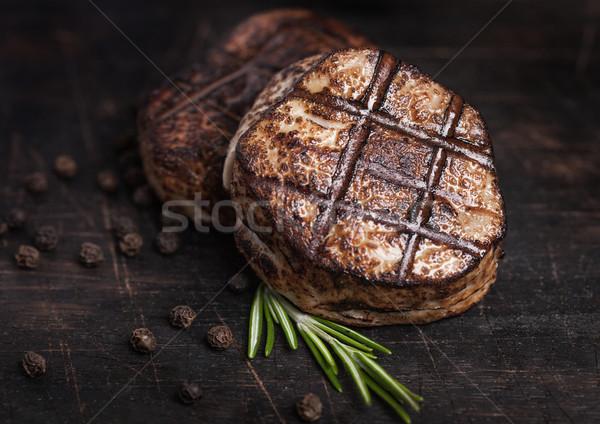 Foto stock: Grelhado · suculento · carne · carne · de · porco · bife · fatia