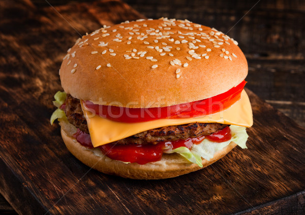 Stock photo: Classic beef cheeseburger with vegetables