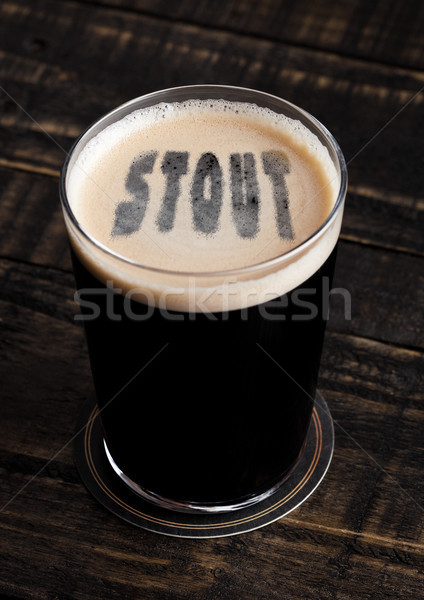 Glas bier top brieven vorm houten Stockfoto © DenisMArt