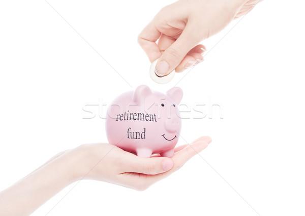 женщины стороны Piggy Bank пенсия фонд текста Сток-фото © DenisMArt