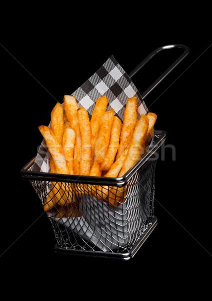 Kosár frissen déli sültkrumpli papír fekete Stock fotó © DenisMArt