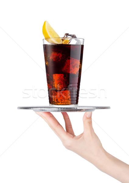 Kéz tálca kóla üdítő ital jég Stock fotó © DenisMArt