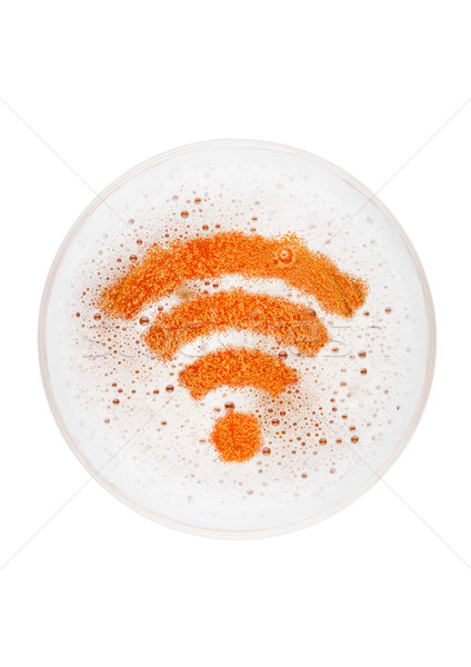 Stock photo: Glass of lager ale beer top with wi-fi symbol shape