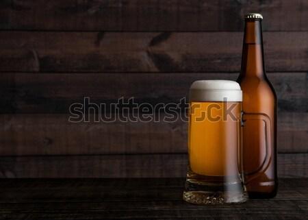 Cam şişe altın alman birası bira köpük Stok fotoğraf © DenisMArt