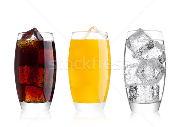 Verres Cola orange soude boire limonade Photo stock © DenisMArt