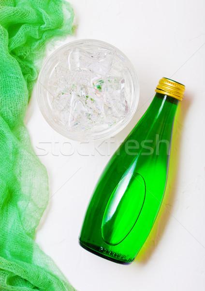 üveg pezsgő ásványvíz üveg jég zöld Stock fotó © DenisMArt