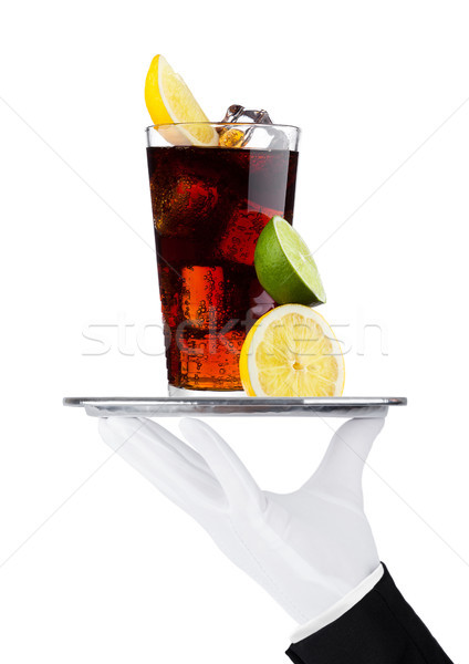 Hand with glove holds tray with cola soda drink Stock photo © DenisMArt