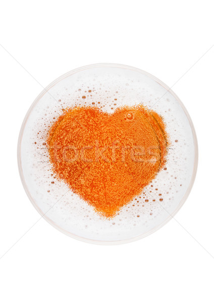 Glass of lager ale beer top with heart shape Stock photo © DenisMArt