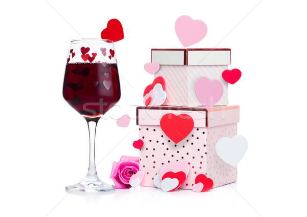 Foto d'archivio: Vetro · vino · rosso · cuore · rosa · scatola · regalo · rosa
