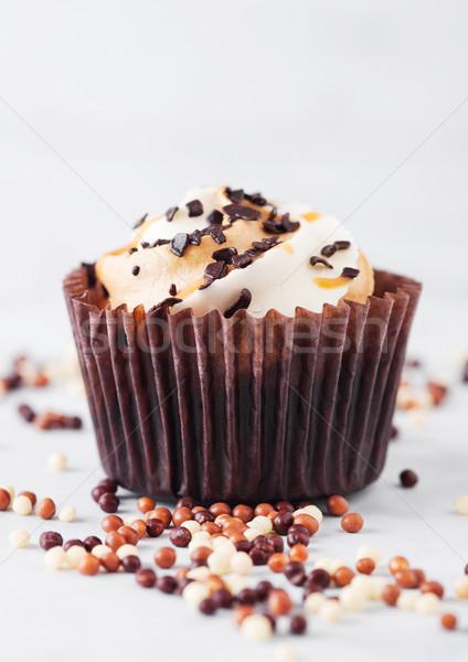 Friss minitorta muffin karamell csokoládé márvány Stock fotó © DenisMArt