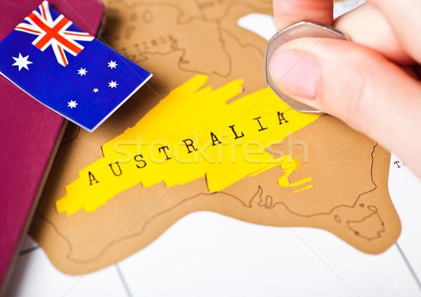 Reizen vakantie Australië paspoort vlag vrouwelijke Stockfoto © DenisMArt