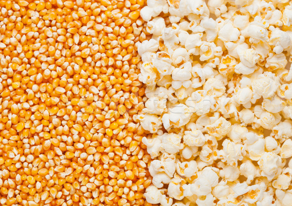 Raw golden sweet corn and popcorn seeds half plate Stock photo © DenisMArt