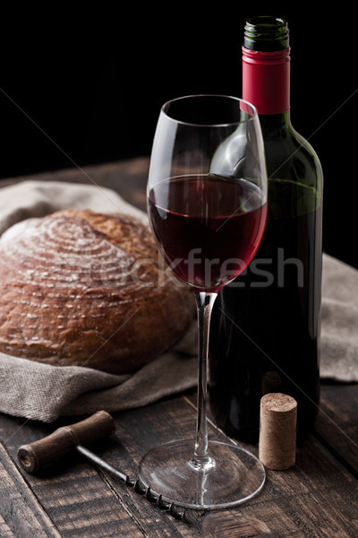 Stockfoto: Glas · fles · rode · wijn · brood · brood · vers