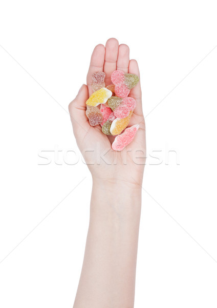 Female hand hold gummy color candies with sugar Stock photo © DenisMArt