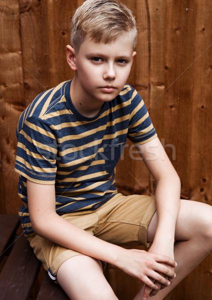 Portré jóképű tini vidám fiú szabadtér udvar Stock fotó © DenisMArt
