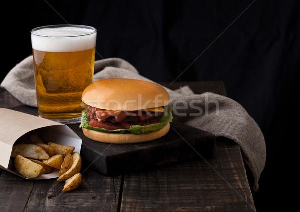 Friss marhahús hamburger krumpli sör üveg Stock fotó © DenisMArt