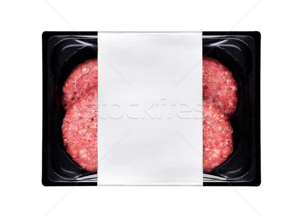 Crudo frescos carne de vacuno plástico bandeja blanco Foto stock © DenisMArt
