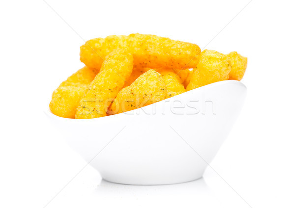 Käse gelb Mais Snacks weiß Schüssel Stock foto © DenisMArt