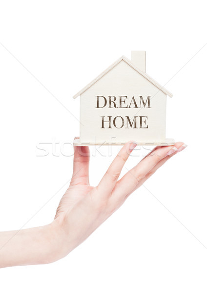 Female hand holding wooden house model with text Stock photo © DenisMArt