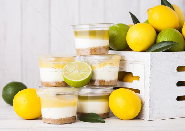 Plastik fincan limon kireç bisküvi tatlı Stok fotoğraf © DenisMArt