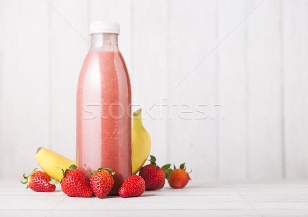 Stock fotó: Műanyag · üveg · friss · nyár · bogyók · smoothie