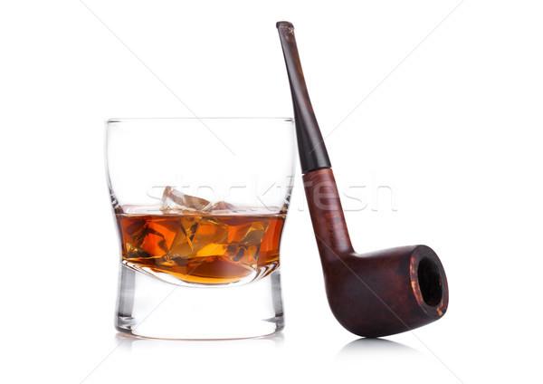 Verre whiskey vintage fumer pipe Photo stock © DenisMArt