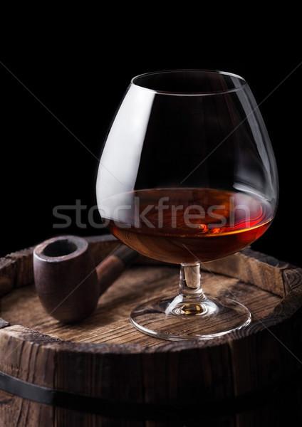 Verre cognac brandy boire vintage fumer Photo stock © DenisMArt
