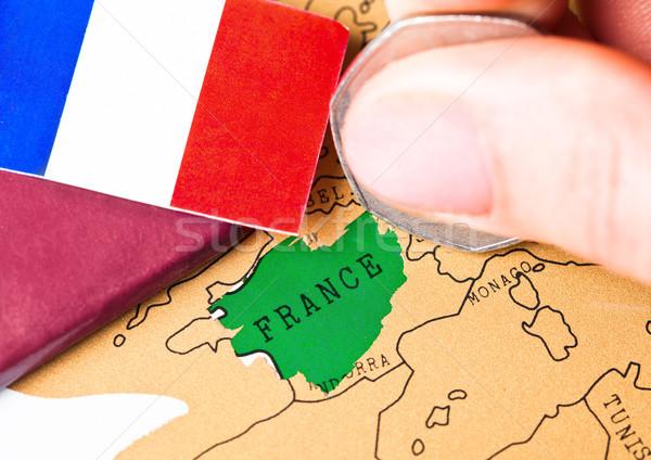 путешествия праздник Франция паспорта флаг женщины Сток-фото © DenisMArt